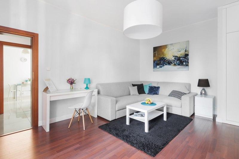 Apartament z ogródkiem - salon z funkcją spania dwuosobowego