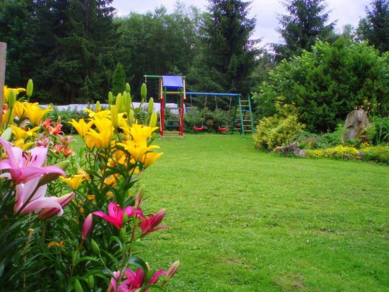 Ogród a w oddali plac zabaw
