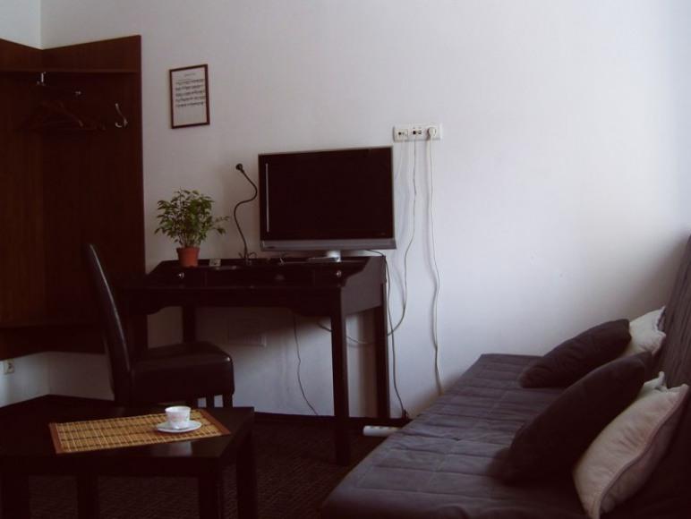 Pokój Maestro. Wygodna rozkładana sofa, biurko i telewizor.