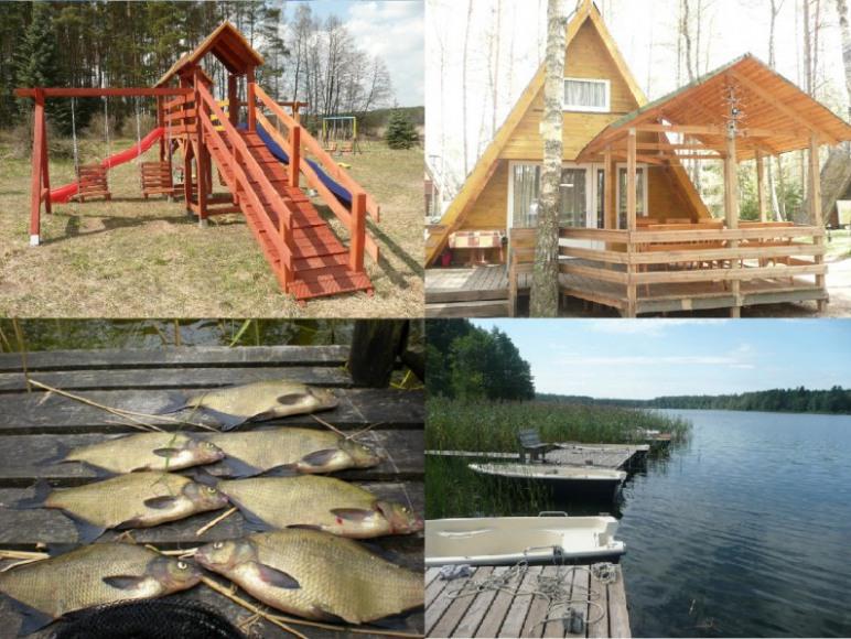 Pomost + Łódka + Silnik: domki nad jeziorem