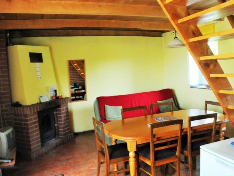Salon kominkowy w domku na dole