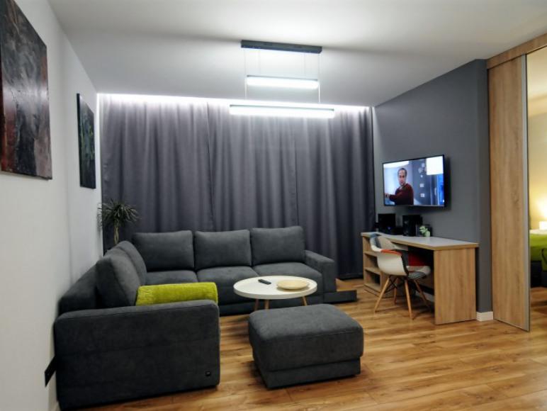 Salon widok na wypoczynek, biurko i sypialnię
