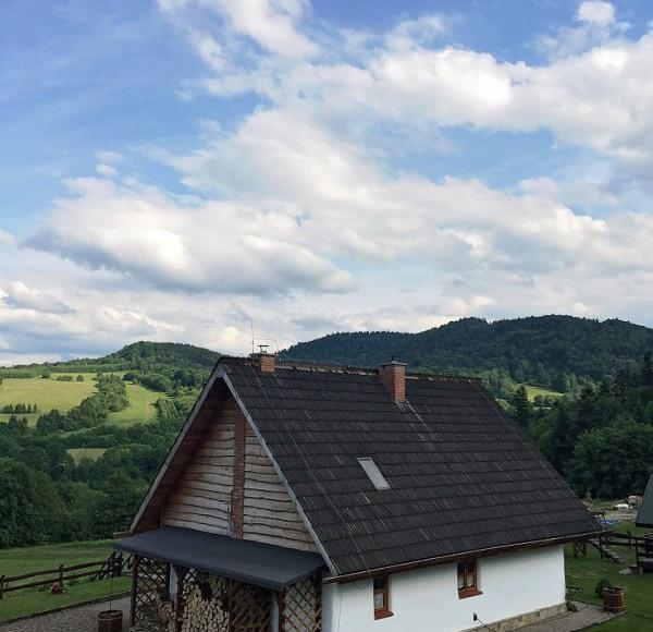 Chata w Bieszczadach - widok na wzgórza