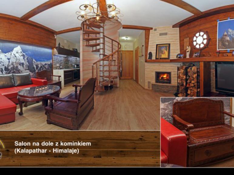 Apartament na Szczycie - Salon z otwartą kuchnią