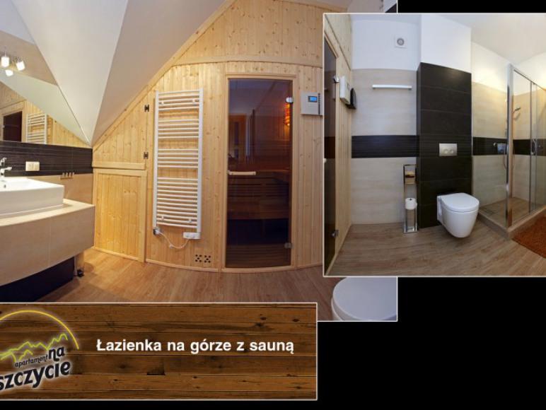 Apartament na Szczycie - Łazienka na górze z sauną