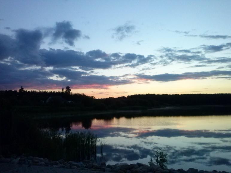 jezioro- zachód słońca