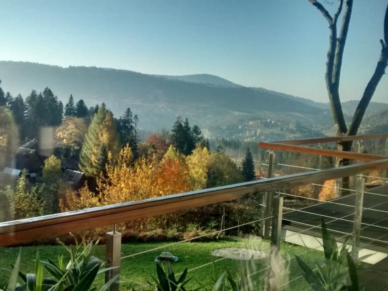 widok z tarasu jesienią
