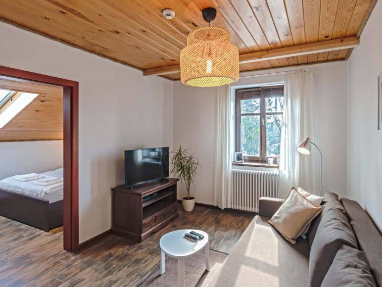 Mieszkanie 4-osobowe - salon z rozkładaną sofą i widokiem na park i deptak