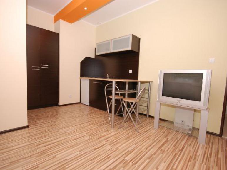 Pokój z aneksem kuchennym oraz łazienką