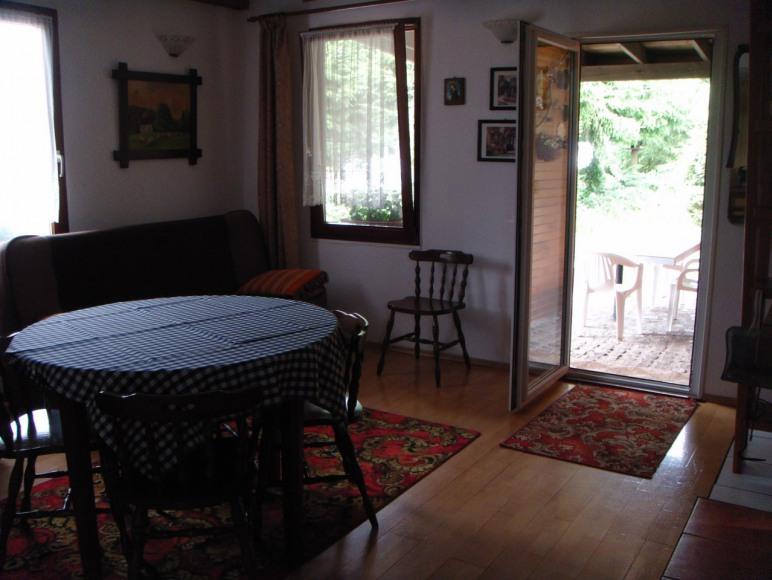 salon, po prawej wyjście na zadaszony taras i część rekreacyjną