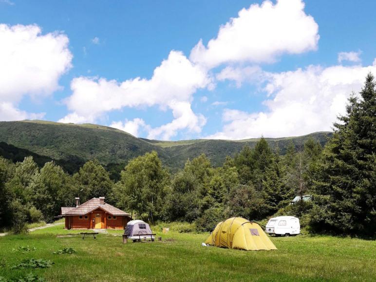 Pole namiotowe (w tle sanitariat)
