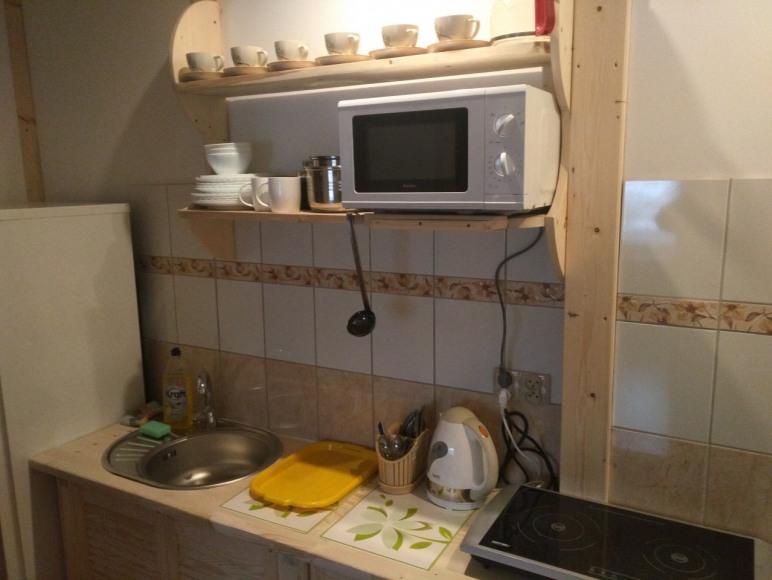 kuchnia należąca do dwupokojowego studia