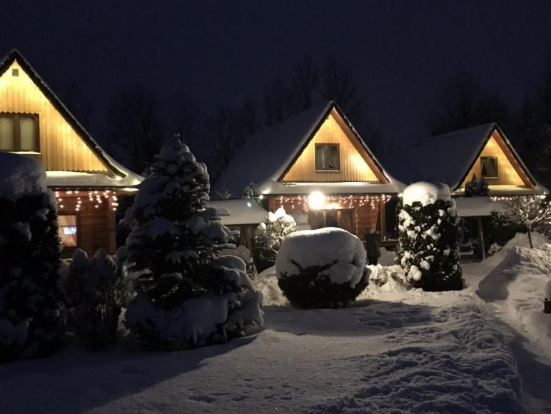 widok na domki zimą