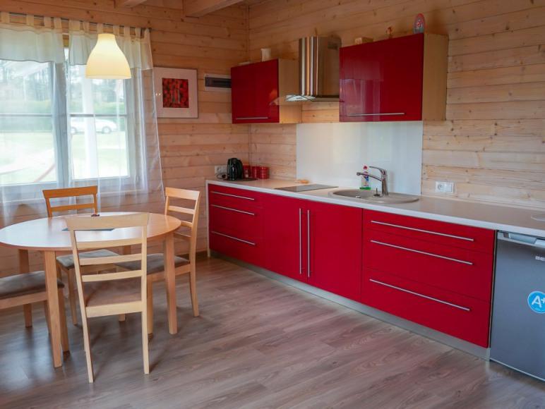 aneks kuchenny w apartamencie dwupoziomowym z dwoma sypialniami