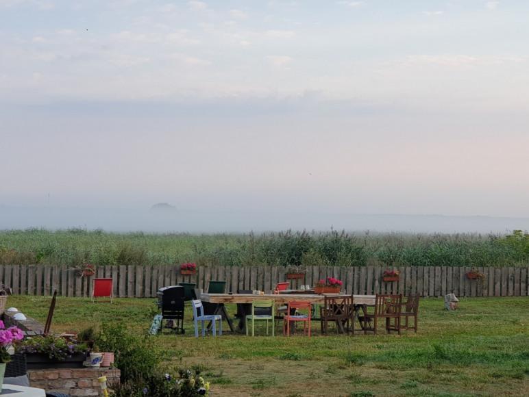 Widok na ogród i rezerwat ptaków