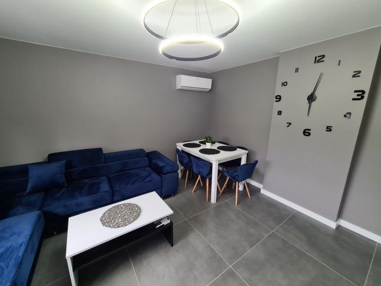 Salon z Wygodną rozkładana sofą oraz klimatyzacją