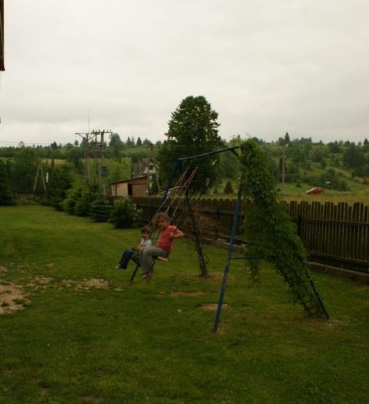huśtawki w ogrodzie