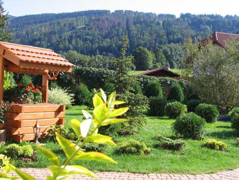 Widok na góry z ogrodu