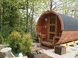 sauna zewnętrzna fińska z przebieralnią i natryskiem