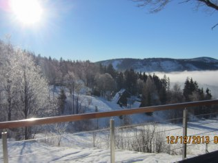 widok z tarasu zimą
