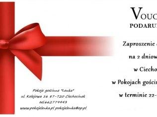 """Voucher podarunkowy na prezent - Pokoje Gościnne """"Lenka"""" blisko Tężni"""