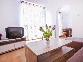 Salon z wyjściem na taras i do kuchni